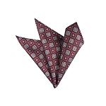 LH-11 | Crimson Red and Silver Retro Flower Woven Handkerchief