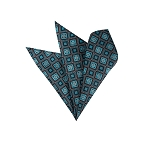 LH-12 | Oasis Blue and Black Retro Flower Woven Handkerchief
