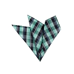 LH-14 | Multi Aqua Blue, Green, Black and Silver Plaid Woven Handkerchief