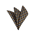 LH-22 | Honey Gold / Brown and Periwinkle Cross Check Woven Handkerchief