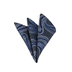 LH-24 | Royal Blue and Silver Big Floral Paisley Woven Handkerchief