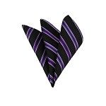 LH-27 | Purple and Plum Violet on Black Pin Dot Striped Woven Handkerchief