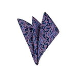 LH-28 | Steel Blue and Pink on Navy Floral Paisley Woven Handkerchief
