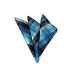 LH-32 | Multi-Shade Blue and Black Cross Weave Woven Handkerchief