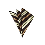 LH-33 | Cream / Copper w. Brown Multi-Repp Stripe Woven Handkerchief