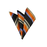 LH-35 | Orange / Black w. Beige Patterned Woven Handkerchief