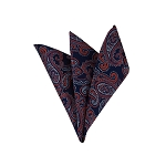 LH-44 | Dark Orange and Silver On Navy Blue Floral Paisley Woven Handkerchief