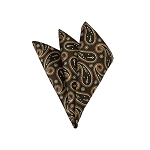 LH-47 | Brown, Beige and Copper Medium Floral Paisley Woven Handkerchief