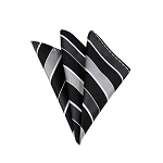 LH-51 | Black, Charcoal, Silver and White Striped Woven Handkerchief
