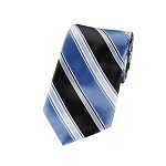 L-01 | Steel Blue and Black Multi Striped Woven Necktie