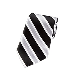 L-05 | Black, Silver and White Wide Striped Woven Necktie
