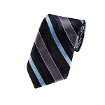 L-06 | Navy, Steel Blue, Black and Charcoal Multi Striped Woven Necktie