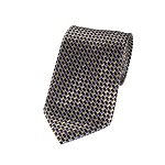 L-10 | Black, Brown, Steel and Honey Gold Bricks Woven Necktie