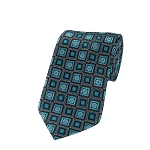 L-12 | Oasis Blue and Black Retro Flower Woven Necktie