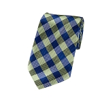 DL-13 | Royal Blue and Pear Green Basket Plaid X-Long Woven Necktie