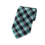 L-14 | Multi Aqua Blue, Green, Black and Silver Plaid Woven Necktie