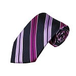 L-43 | Lavender, Violet and Dark Navy Blue Dual Stripe Woven Necktie