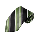 L-20 | Multi Green w. Black and Silver Stripe Woven Necktie