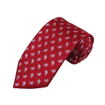 L-21 | Small Teardrop Paisleys on Red Woven Necktie