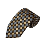 L-22 | Honey Gold / Brown and Periwinkle Cross Check Woven Necktie