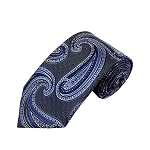 L-24 | Royal Blue and Silver Big Floral Paisley Woven Necktie