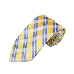 L-25 | Steel Blue on Light Yellow Repp Striped Plaid Woven Necktie