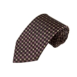 L-26 | Burgundy and Copper Small Dotted Cross Check Woven Necktie