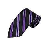 L-27 | Purple and Plum Violet on Black Pin Dot Striped Woven Necktie