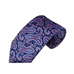 L-28 | Steel Blue and Pink on Navy Floral Paisley Woven Necktie