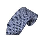 L-29 | Light Blue and Black Geometric Dots Woven Necktie