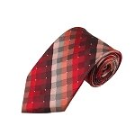 DL-31 | Red / Burgundy / Lite Coral Cross Weave X-Long Woven Necktie