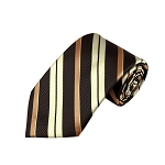 L-33 | Cream / Copper w. Brown Multi-Repp Stripe Woven Necktie