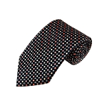 L-34 | Palm Coral / Peach and Light Steel Blue Dots Geometric Woven Necktie