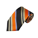 L-35 | Orange / Black w. Beige Patterned Stripe Woven Necktie