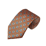 L-36 | Light Steel Blue / Beige on Bronze Orange Talisman Pattern Woven Necktie