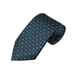 L-40 | Teal Green and Silver Multi Small Dotted Woven Necktie
