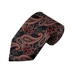 L-50 | Rust Red on Black Lotus Floral Paisley Woven Necktie