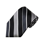 L-51 | Black, Charcoal, Silver and White Striped Woven Necktie