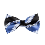 BL-01 | Steel Blue and Black Multi Striped Woven Pre-Tied Bow Ties