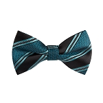 BL-02 | Oasis Blue and Black Swirls and Striped Woven Pre-Tied Bow Ties