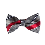 BL-03 | Gradient Gray and Crimson Red Geo Multi Striped Woven Pre-Tied Bow Tie