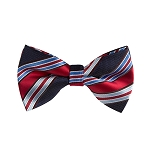 BL-04 | Red and Multi Blue Striped Woven Pre-Tied Bow Tie