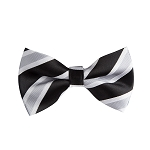 BL-05 | Black, Silver and White Wide Striped Woven Pre-Tied Bow Tie