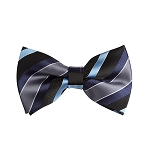 BL-06 | Navy, Steel Blue, Black and Charcoal Multi Striped Woven Pre-Tied Bow Tie