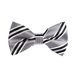 BL-07 | Black, Silver and White Narrow Striped Woven Pre-Tied Bow Tie