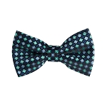 BL-08 | Navy, Aqua and Steel Blue Diamond Woven Pre-Tied Bow Tie