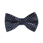 BL-09 | Black and Metallic Blue Diamond Woven Pre-Tied Bow Tie