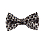BL-10 | Black, Brown, Steel and Honey Gold Bricks Woven Pre-Tied Bow Tie