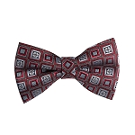 BL-11 | Crimson Red and Silver Retro Flower Woven Pre-Tied Bow Tie