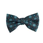 BL-12 | Oasis Blue and Black Retro Flower Woven Pre-Tied Bow Tie